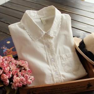 2017春新作 ホワイトシャツ レディース レースシャツ ナチュラル風シャツ 長袖シャツ 無地シャツ 森ガール系シャツ ベーシック