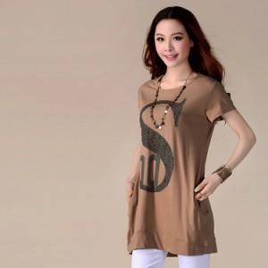 ロングTシャツ レディース 半袖Tシャツ チュニック クルーネックTシャツ キラキラプリントTシャツ Tシャツワンピ シンプルTシャツ