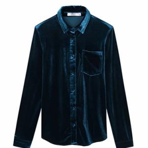 ベロアシャツ レディース ビロードシャツ 長袖シャツ ベルベットシャツ 前開きシャツ 無地シャツ 通勤シャツ シンプル オシャレ