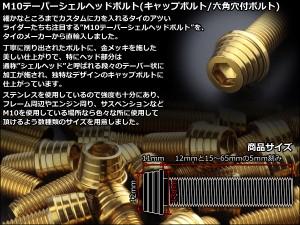 M10×20mm テーパー シェル ヘッド ボルト キャップボルト ステンレス 削り出し フレームやエンジン周りに ゴールド TB0345