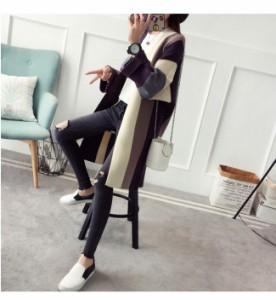 ロングカーディガン アウター トップス コート ニット 羽織 長袖 レディース シンプル ゆったり ポケット 女性 大人 セーター カジュアル