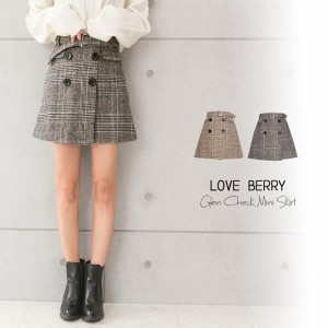 台形ミニスカート ミニスカート 大きいサイズ レディース スカート ボトムス チェックスカート グレンチェック 新作 きれいめ