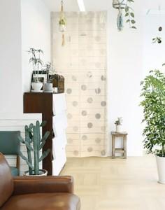在庫限り 麻風エコスクリーン 約巾100X丈250cm「サークル」 日本製 ロングサイズ  目隠し    ファブリック 敷物 のれん