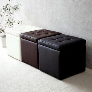 収納スツール 幅37cm PUレザー生地 ウレタンクッション オットマン ボックススツール 椅子 [150-SNCBOX1]