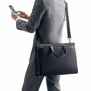 【送料無料】ビジネスバッグ A4書類 15.6インチ ノートPC収納 ストライプ柄 ショルダー&手提げ リクルートバッグ 通勤 就活[200-BAG067]