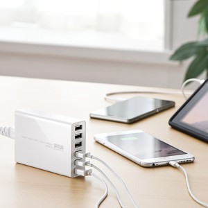 6ポート USB充電器 各2.4A 合計10A出力 iPhone iPad Android スマホ Xperia SOV33 SOV32 USB-ACアダプタ [700-AC011]