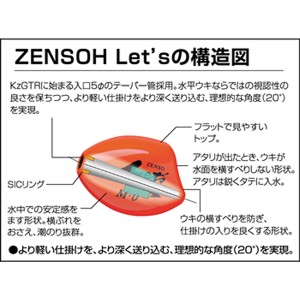キザクラ ウキ ZENSOH Let's [全層 レッツ] Mサイズ オレンジ (磯釣り フカセウキ)