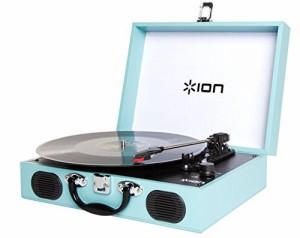 スピーカー内蔵 ブルー Vinyl Transport スーツケース型レコードプレーヤー ION Audio