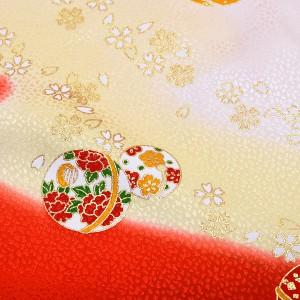正絹 しごき「朱赤×黄色ぼかし 毬」抱え帯 七五三 桃の節句、お正月にも 志古貴 [送料無料]