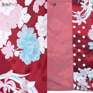 袷 着物単品「赤色 水玉、花の丸」お仕立て上がり着物 4TL(3L)、4LW、4TW(4L) 夢館オリジナル [送料無料]