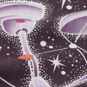 【あす着対応】 作り帯 浴衣セット「紫紺色 星」お仕立て上がり浴衣 S、F、TL、LL ポリエステル浴衣 二尺袖 [送料無料]