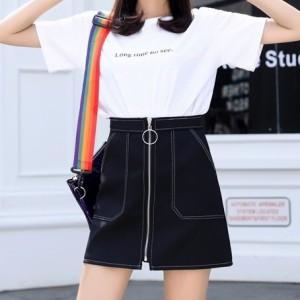 9ea35644759d0 ミニスカート 前ジッパー スカート レディース ボトムス 大きいサイズ 大人可愛い 韓國ファッション プチプラ 春 スカート