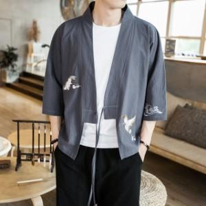 メンズ   甚平   ジャケット   アウター  七分丈袖  和裝  部屋著   刺繍   羽織  浴衣風男性 著物  復古