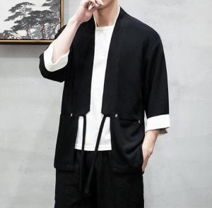 メンズ   甚平   ジャケット   アウター  七分丈袖  和裝  麻生地  部屋著   羽織   浴衣風男性   著物