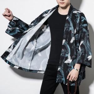 メンズ   甚平   ジャケット   アウター    和裝  部屋著   刺繍   羽織  浴衣風男性 著物  復古  カジュア