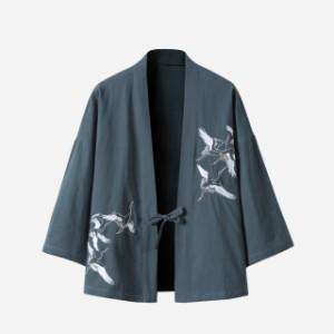 2019  メンズ   甚平   ジャケット   アウター   七分丈袖   和裝  部屋著   刺繍   羽織  浴衣風男性