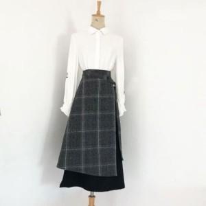 14ceada04e096b ボトムス 巻きスカート ラップスカート 冬 チェック柄 異素材MIX フレア スカート