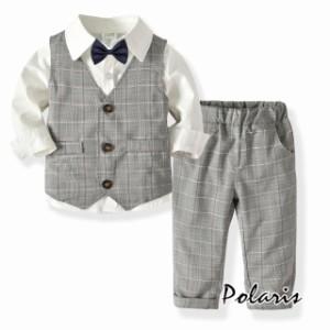 fd54be0bbff8e カバーオール 男の子 フォーマル スーツ ドレス 上下セット春秋 4點セットアップ キッズ ベビー服 赤ん坊 子供服