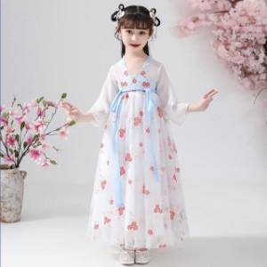 子供 ドレス ロング チャイナ風 韓国風 キッズドレス ピアノ 発表会 女の子 ドレス ロングスカート 子ども 結婚式 フォーマル 子供服 ワ