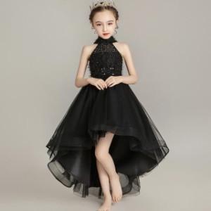 子供 ドレス ロング フィッシュテール 黒 キッズドレス ピアノ 発表会 女の子 ドレス ロングスカート 結婚式 フォーマル 子供服 ワンピー