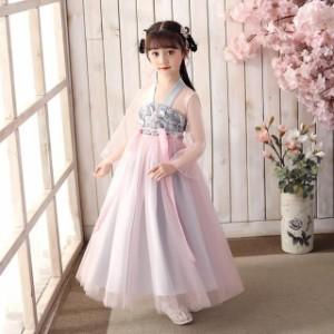 子供 ドレス ロング チャイナ風 韓国風 大人カラー 可愛い キッズドレス ピアノ 発表会 女の子 ドレス ロング 子ども 結婚式 フォーマル