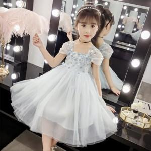 2色 子供 ドレス ミモレ丈 膝丈 キッズドレス ピアノ 発表会 女の子 ドレス 子ども 結婚式 ドレス フォーマル 子供服 ワンピース 可愛い