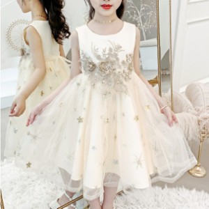 3色 子供 ドレス 膝丈 ミモレ丈 フレア プリンセス 袖なし かわいい おしゃれ キッズドレス ピアノ 発表会 女の子 ドレス 誕生日 結婚式