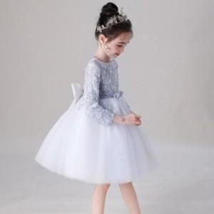 子供 ドレス 膝丈 ミニ 長袖 フレア おしゃれ かわいい プリンセス キッズドレス ピアノ 発表会 女の子 ドレス 子ども 誕生日 結婚式 フ
