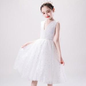 子供 ドレス ワンピース 白 可愛い キッズドレス ピアノ 発表会 女の子 ドレス 子ども 結婚式 フォーマル 子供服 ワンピース ノースリー