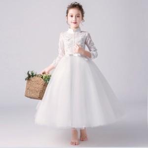 子供 ドレス ロング 白 プリンセス キッズドレス ピアノ 発表会 女の子 ドレス ロングスカート 結婚式 フォーマル 子供服 ワンピース フ