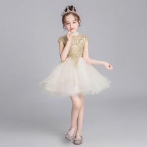 子供 ドレス ミニ 膝丈 白 キッズドレス ピアノ 発表会 女の子 ドレス 結婚式 フォーマル 子供服 ワンピース フレアスカート 半袖 フレン