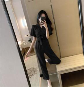 パンツドレス ドレス パンツ ジャンプスーツ レディース 黒 袖あり シンプル かっこいい 結婚式 お呼ばれ パーティードレス パンツ アン
