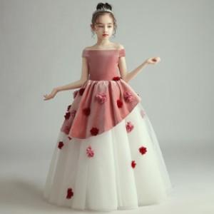 子供 ドレス ロング マキシ丈 プリンセス ピンク 可愛い キッズドレス ピアノ 発表会 女の子 ドレス ロング 結婚式 フォーマル おしゃれ