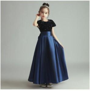 子供 ドレス ロング マキシ丈 プリンセス 大人っぽい ネイビー キッズドレス ピアノ 発表会 女の子 ドレス ロング 結婚式 フォーマル お