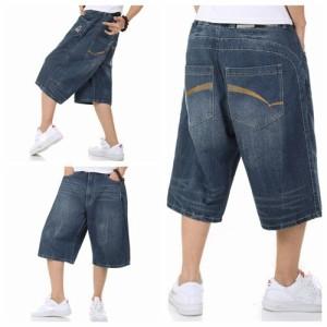 メンズ デニムショーツ ゆったり バギーパンツ ジーパン 極太 ショートパンツ  七分丈 大きいサイズ ヒップホップ系