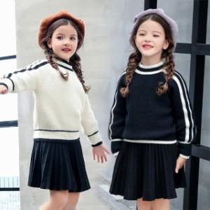 efd048439dc2b 子供服ニットセーター2點セットプルオーバーセーター+ニットスカート女の子子ども服