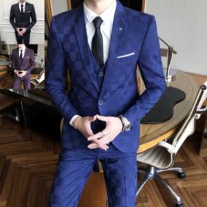 スリーピース スーツ メンズ ビジネススーツ セットアップ 結婚式 チェック3ピーススーツ カジュアル 細身3点セット 通勤