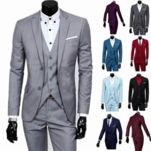 送料無料メンズ 二つボタン ピーススーツ スタイリッシュスーツ3点セット スリムビジネス ベスト パンツ 紳士服 リクルート 就職 通勤 メ