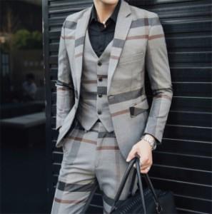 送料無料 スーツ メンズ スリーピーススーツ スーツセットアップ ベスト付き チェック柄 スリム 1ボタン ビジネススーツ スリムスーツ 紳