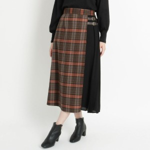 【NEW】グローブ/【S−3L】異素材プリーツキルト風スカート