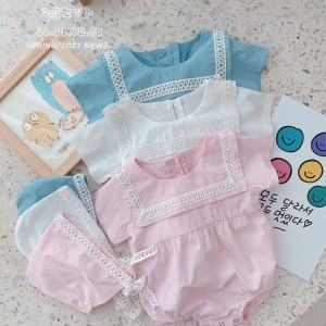 ベビー服 夏服 ロンパース 帽子 2点セット 純綿 可愛い 赤ちゃん 女の子 新生児 ジャンプスーツ ボディスーツ 半袖 出産祝い ベビー用品