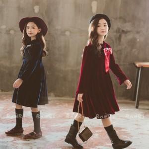 子供服 ワンピース キッズ 女の子 長袖 おしゃれ 秋冬  ジュニア ワンピース ベルベット 子供ドレス カジュアル 上品 お嬢様 可愛い 新品