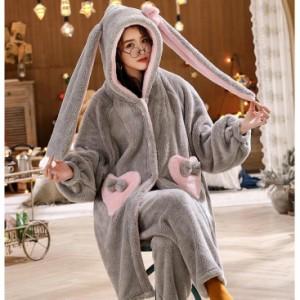 レディース 厚手 着る毛布 もこもこパジャマ ルームウェア ロングガウン おしゃれ パジャマ ふわふわ