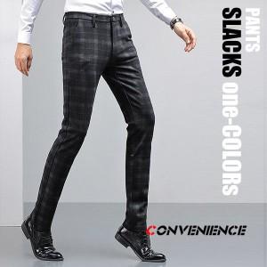 メンズ スラックス ビジネスパンツ スーツパンツ カッコイイ チェック柄 大人柄 ストレッチ パンツ スリム 美脚 大きいサイズ おしゃれ