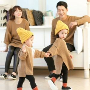 親子ペア 子供 長袖 セーター ニット1人1色を選べます トップス 親子お揃い カップル ペアルック 家族オソロ服 トップス 女