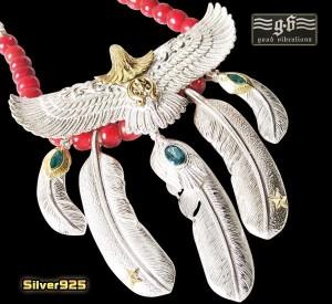 【GV】レザーホワイトハートネックレス(4)/・フェザーネックレス・ビッグイーグル・羽根・動物・鳥・天然石・トパーズ・シルバー925(送