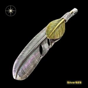 フェザーペンダント(22)左側/【メイン】シルバー925銀ペンダントネックレス羽根フェザーイーグル
