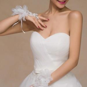 ウエディング グローブ お花 フラワーモチーフ シンプルショート 花嫁 ブライダル用手袋