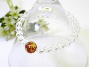金彫り龍赤メノウ10mm玉&水晶8mm玉ブレスレット 風水 パワーストーン