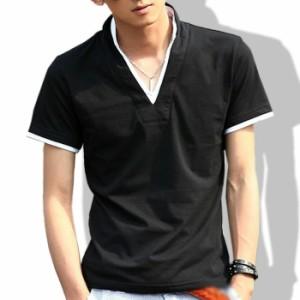 tシャツ メンズ 半袖 Vネック ポロシャツ スタンドカラー 無地 襟袖ライン キレイめ 細身 カジュアル メンズファッション 春 夏服 黒